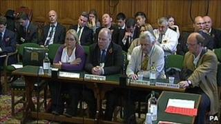 Witnesses giving evidence to the Home Affairs Select Committee on the subject of firearms control earlier this month