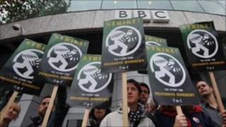 BBC staff on strike at the start of November