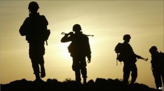 Sri Lankan soldiers near Colombo, Sri Lanka, on 9 July 2007