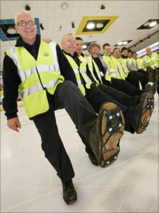 Thames Water workers wearing new anti-slip shoes