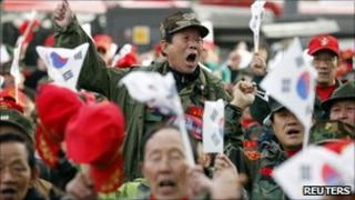Military veterans protest in Seoul