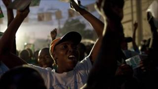 Haitians during a campaign rally, Port-au-Prince