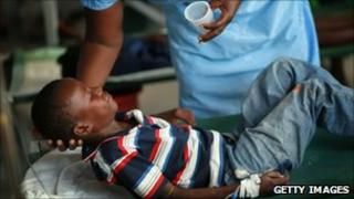 A six-year-old boy is treated for cholera