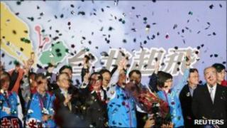 The Kuomintang celebrates its victory in the Taipei constituency