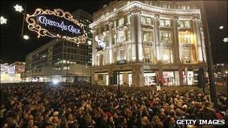 Christmas lights switch-on in London's Oxford Street in 2009