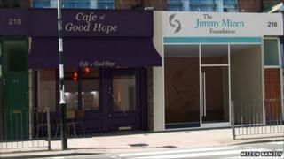 CGI of the cafe and Jimmy Mizen Foundation office
