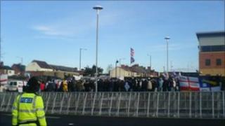 Protesters in Nuneaton