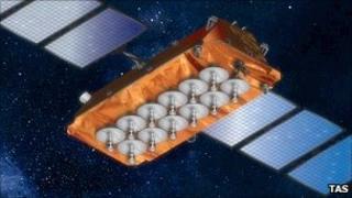 Artist's impression of O3b satellite (TAS)