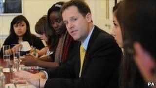 Nick Clegg with students. Pic 3 November