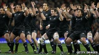 New Zealand perform the haka before kick off