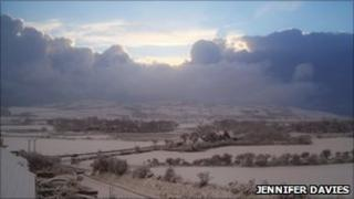 Snow in Ballakillowey in the Isle of Man