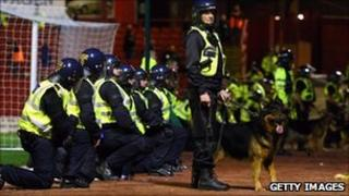 Police at Barnsley v Man Utd cup tie