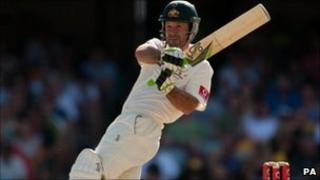 Australian captain Ricky Ponting bats during the first Ashes Test at the Gabba in Brisbane, Australia (29 November 2010)