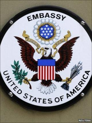 US embassy sign, London