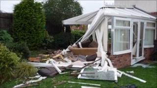 The damaged conservatory, pic courtesy of Mrs Poole