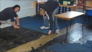 The clean-up at Gobowen Primary School
