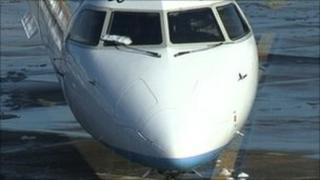Flybe Q400 plane that was struck by lightning