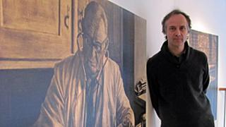 David Gledhill with painting of Dr Munscheid