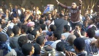 Muslim Brotherhood supporters upset with Sunday's parliamentary election take to the streets in Qusiya, Egypt (29 November 2010)
