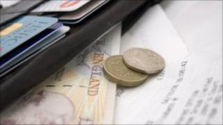 Wallet, money and bills