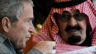 Former US President George Bush and King Abdullah of Saudi Arabia