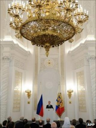 Russian President Dmitry Medvedev makes his annual state-of-the-nation address in the Kremlin, 30 November