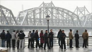 Chinese tourists in Dandong, 27 November