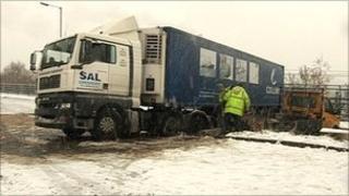 Jack-knifed lorry in Sheffield