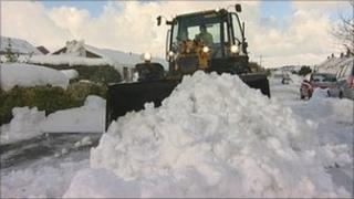 Snow being cleared