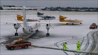 Guernsey Airport covered in snow
