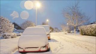 Snowy street in Derbyshire