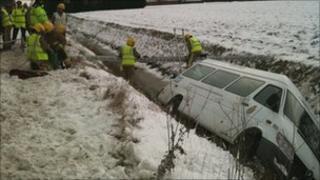 Ambulance in ditch