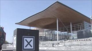 Ballot box outside the Senedd