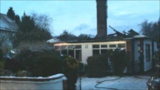 Fire damaged bungalow