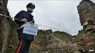 Policeman guards collapsed wall at Pompeii (! Dec 2010)