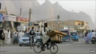 Town of Kassala an granite Taka mountains in eastern Sudan (