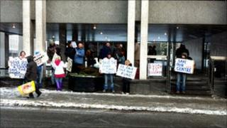 Protest at Aberdeen City Council
