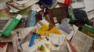 Paper, card and junk mail for recycling