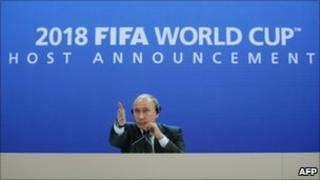 Mr Putin at Fifa news conference in Zurich