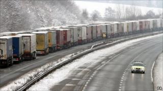 Lorries on the M20 near Ashford, Kent