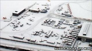 Gatwick Airport covered in snow