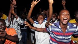 Supporters of Alpha Conde celebrate in the capital Conakry. 3 Dec 2010