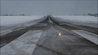Guernsey Airport's runway covered in snow