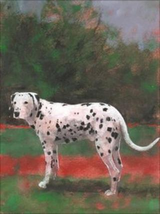 Painting of dalmation in a garden
