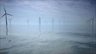 A wind farm off the UK coast near Liverpool