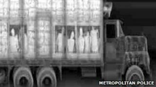 A lorry X-ray machine shows people being smuggled into the UK (undated Metropolitan Police image)
