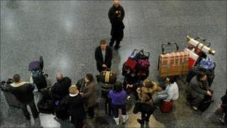 Passengers waiting at Gatwick Airport