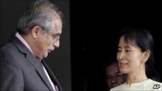 Vijay Nambiar and Aung San Suu Kyi in Rangoon. Photo: 27 November 2010