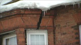 Snow damage to house in Sunderland