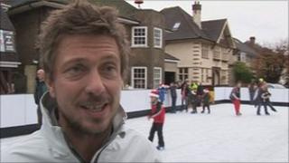 Greig Howe at the ice rink outside his home